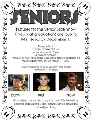 An example of the three photos needed for the senior slide show.